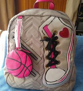 Betsey Johnson sneaker gray backpack.